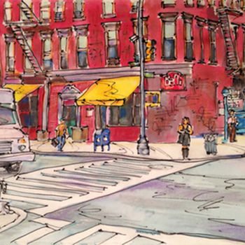 """Painting titled """"On the Corner, Broo…"""" by Gloria Nilsson, Original Art, Other"""