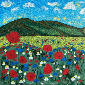 """Painting titled """"Field of poppies"""" by Hajnalka Fellmann, Original Art, Acrylic Mounted on Stretcher frame"""