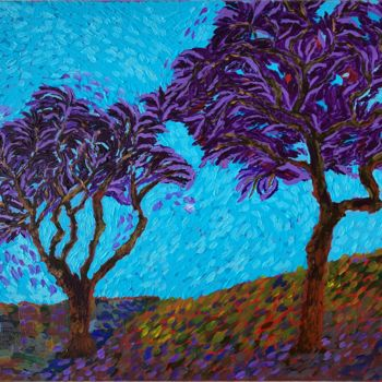 """Painting titled """"Happy trees"""" by Hajnalka Fellmann, Original Art, Acrylic Mounted on Stretcher frame"""
