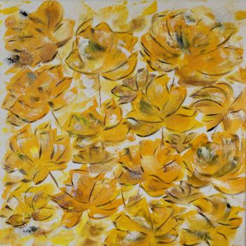 """Painting titled """"Yellow flowers"""" by Hajnalka Fellmann, Original Art, Acrylic Mounted on Stretcher frame"""