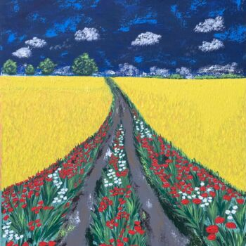 """Painting titled """"Road to heaven"""" by Hajnalka Fellmann, Original Art, Acrylic Mounted on Stretcher frame"""