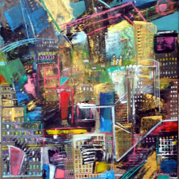 """Painting titled """"Edifices"""" by Helene Rousselot, Original Art, Acrylic"""