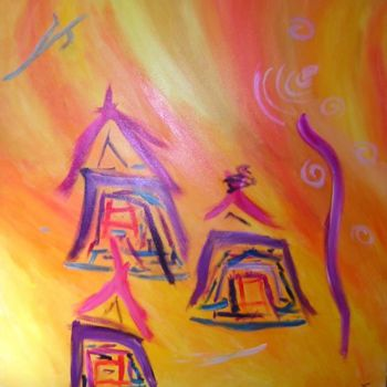 """Painting titled """"Soleil Nippon"""" by Helene Rousselot, Original Art,"""