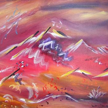 """Painting titled """"Volcans"""" by Helene Rousselot, Original Art,"""