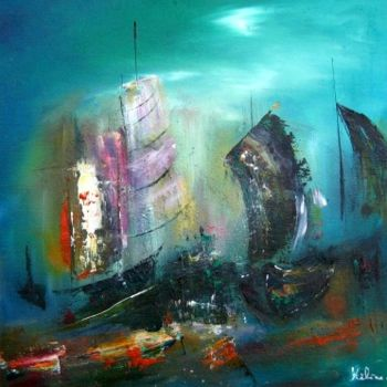 """Painting titled """"Bataille Navale"""" by Helene Rousselot, Original Art,"""
