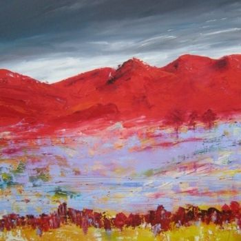 """Painting titled """"Red mountain"""" by Helene Rousselot, Original Art,"""