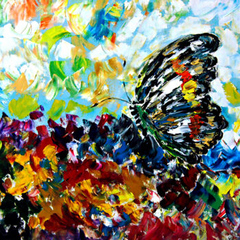 """Painting titled """"Colourful Butterfly"""" by Clement Tsang, Original Art, Oil"""
