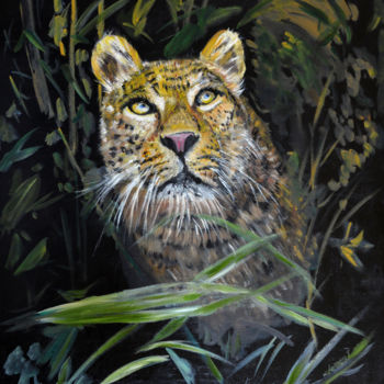 """Painting titled """"Leopard is Watching…"""" by Clement Tsang, Original Art, Oil"""