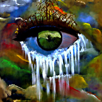 """Painting titled """"Eye and Tears"""" by Clement Tsang, Original Art, Oil"""