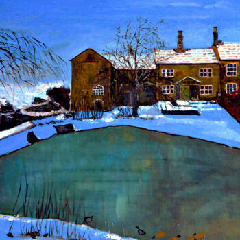 """Painting titled """"Lake and Hotel"""" by Clement Tsang, Original Art, Oil"""