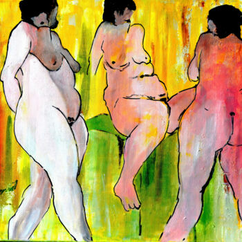 """Painting titled """"Three Nude Ladies"""" by Clement Tsang, Original Art, Oil"""