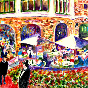 """Painting titled """"Restaurant at City…"""" by Clement Tsang, Original Art, Oil"""
