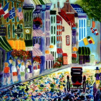 """Painting titled """"Quebec Street Scene…"""" by Clement Tsang, Original Art, Acrylic"""