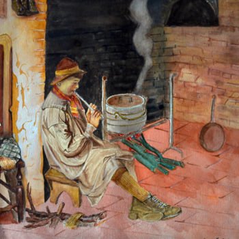 """Painting titled """"Boy Blowing pipe in…"""" by Clement Tsang, Original Art, Watercolor"""