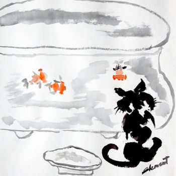 """Painting titled """"Cat and Fish"""" by Clement Tsang, Original Art, Watercolor"""