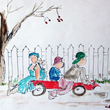 """Painting titled """"Children Playing on…"""" by Clement Tsang, Original Art, Watercolor"""