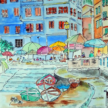 """Painting titled """"City of Italy"""" by Clement Tsang, Original Art, Watercolor"""