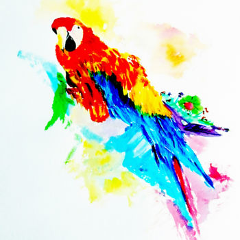 """Painting titled """"Beautiful Parrot"""" by Clement Tsang, Original Art, Watercolor"""