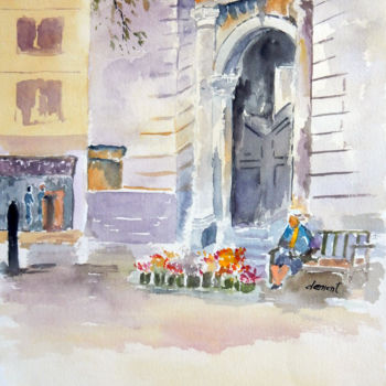 """Painting titled """"Woman Selling Flower"""" by Clement Tsang, Original Art, Watercolor"""
