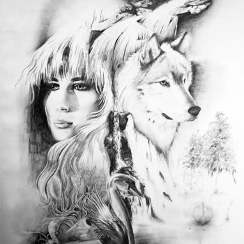 """Drawing titled """"Lady and Fox"""" by Clement Tsang, Original Art, Charcoal"""