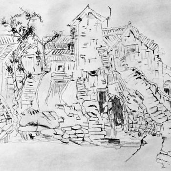 """Drawing titled """"The Old Village in…"""" by Clement Tsang, Original Art, Charcoal"""
