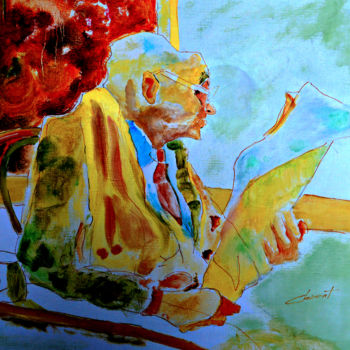 """Painting titled """"Old man reading new…"""" by Clement Tsang, Original Art, Oil"""