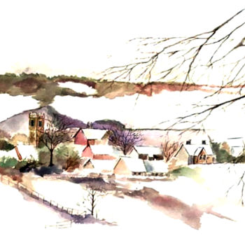 """Painting titled """"Village and Farmland"""" by Clement Tsang, Original Art, Watercolor"""