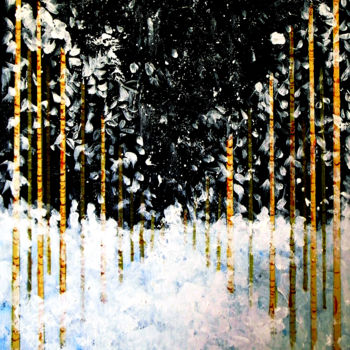 """Painting titled """"Snowing in Forest"""" by Clement Tsang, Original Art, Watercolor"""
