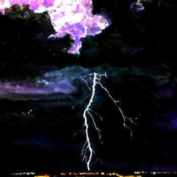 """Painting titled """"Lightning and Thund…"""" by Clement Tsang, Original Art, Watercolor"""