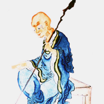 """Painting titled """"Old Monk"""" by Clement Tsang, Original Art, Watercolor"""
