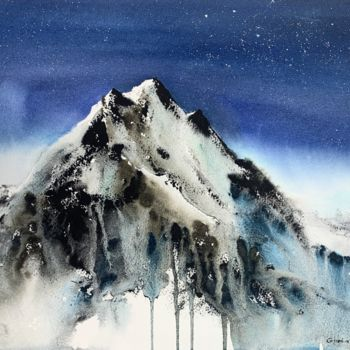 """Painting titled """"Mountainscape #15"""" by Eugenia Gorbacheva, Original Art, Watercolor"""