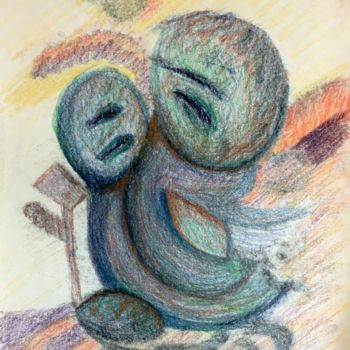 """Drawing titled """"In The Past"""" by Igzotic, Original Art, Pastel"""