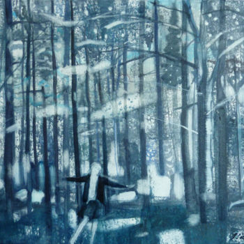 """Painting titled """"Sounds of forest"""" by Irena Luse, Original Art, Oil Mounted on Stretcher frame"""