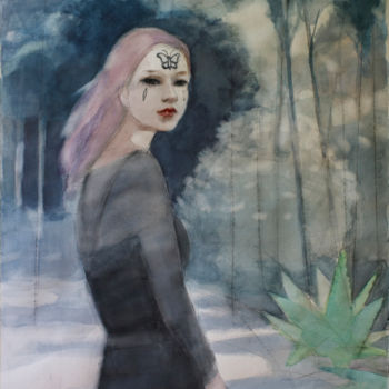 """Painting titled """"Quo vadis?"""" by Irena Luse, Original Art, Watercolor"""