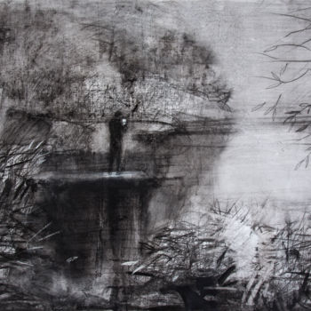 """Drawing titled """"Lake"""" by Irena Luse, Original Art, Charcoal"""