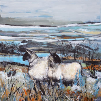 """Painting titled """"Sheep In The Countr…"""" by Irina Rumyantseva, Original Art, Acrylic Mounted on Stretcher frame"""