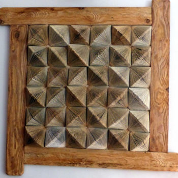 Collages, wood, geometric, artwork by Isabelle Renou