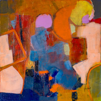 """Painting titled """"Abstraction orange 1"""" by Jacqueline Faubert, Original Art, Acrylic"""