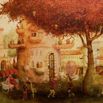 """Painting titled """"balloonist"""" by Remigijus Januskevicius, Original Art, Oil"""