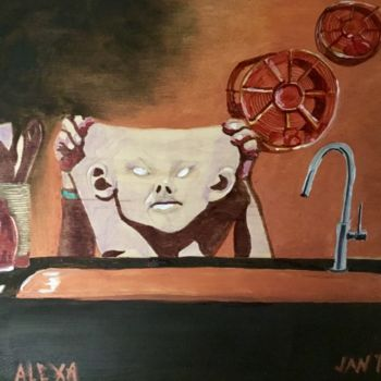 """Painting titled """"Alexa in the Kitchen"""" by Jan Wall, Original Art, Oil Mounted on Wood Panel"""