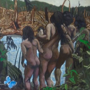 """Painting titled """"Brazil"""" by Jan Wall, Original Art, Oil Mounted on Stretcher frame"""