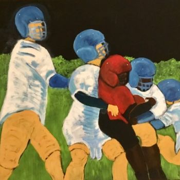 """Painting titled """"Football Players 3"""" by Jan Wall, Original Art, Oil Mounted on Stretcher frame"""