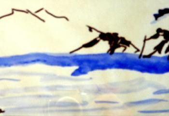 """Painting titled """"Blind Men on a Log"""" by Jan Wall, Original Art, Ink"""