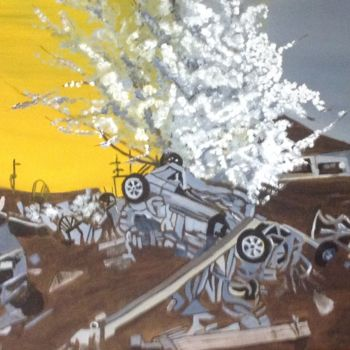 """Painting titled """"2011:  Tsunami"""" by Jan Wall, Original Art, Oil Mounted on Stretcher frame"""
