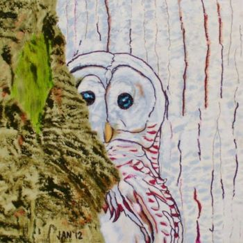 """Painting titled """"Owl"""" by Jan Wall, Original Art, Oil"""