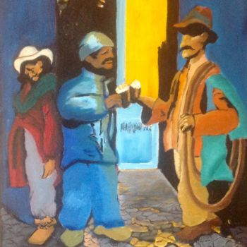 """Painting titled """"Compadres"""" by Jan Wall, Original Art, Oil"""
