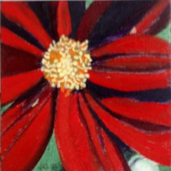 """Painting titled """"Red Flower"""" by Jan Wall, Original Art, Oil"""