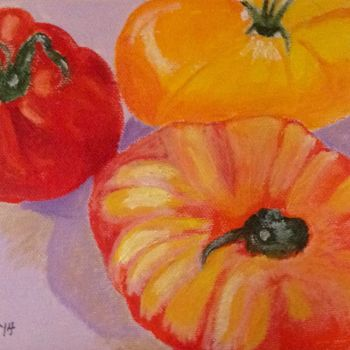 """Painting titled """"Three Tomatoes"""" by Jan Wall, Original Art, Oil"""