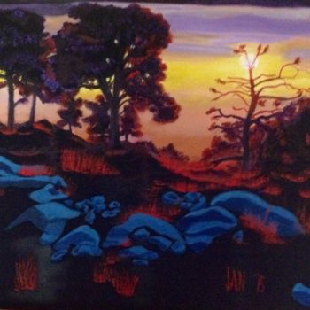 """Painting titled """"Blue Stones 2"""" by Jan Wall, Original Art, Oil"""
