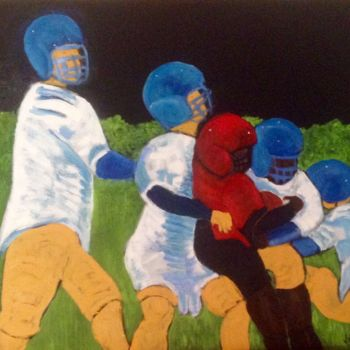 """Painting titled """"Football Players 2"""" by Jan Wall, Original Art, Oil"""